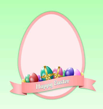 Happy Easter greeting card template with eggs and ribbon Stock Vector - 17314273