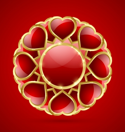 Glossy red and golden romantic rosette made of hearts isolated on background Vector