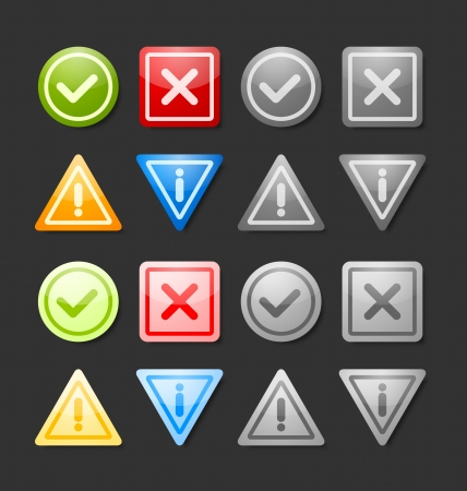 Active and inactive notification icons suitable for custom web design and computer purposes Vector