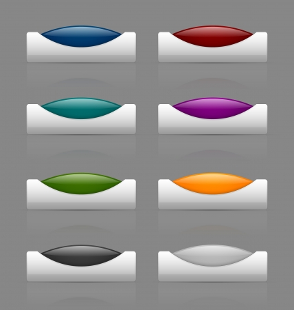 command button: Set of colorful glossy buttons isolated on grey background Illustration