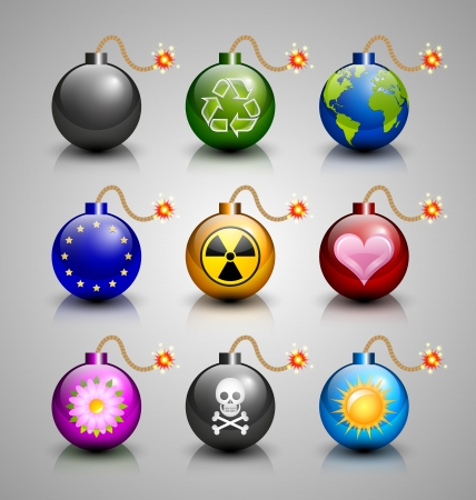 detonate: Set of burning bomb icons isolated on grey background