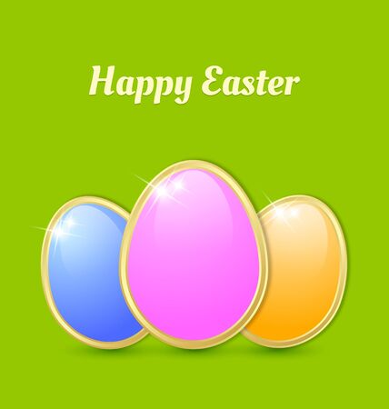 Three glossy Easter eggs isolated on green background Stock Vector - 18019095