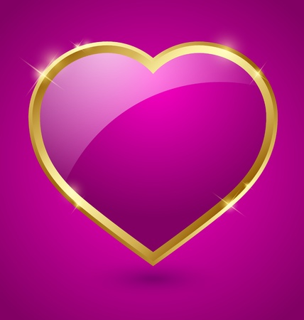 purple heart: Glossy purple and golden romantic heart