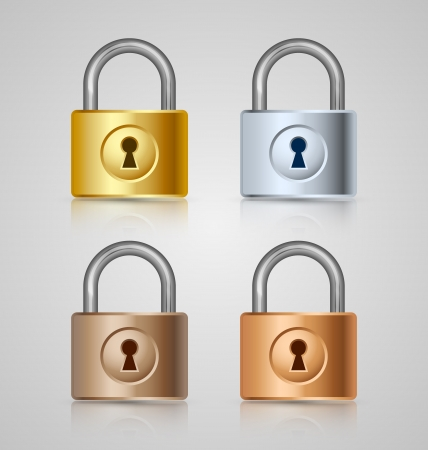 Padlock icons isolated on grey background Vector