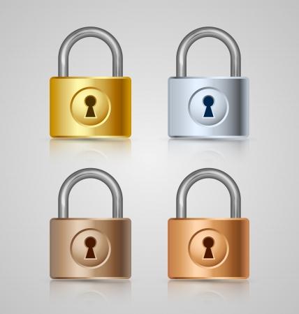 gold keyhole: Padlock icons isolated on grey background Illustration