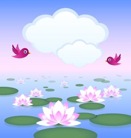 Idyllic lotus pond with birds and clouds