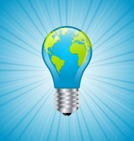 Ecology and saving energy icon with light bulb and planet Earth Stock Vector - 18296322