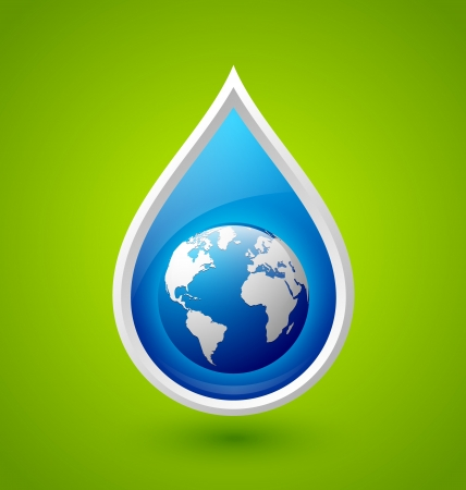 Blue glossy water drop and planet Earth icon isolated on green background