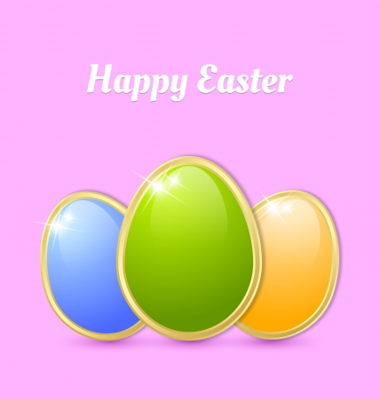 Three glossy Easter eggs isolated on pink background Vector