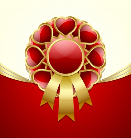 afrodita: Roseta brillante romántico rojo y oro de corazones con la cinta Vectores