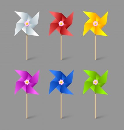 Set of paper pinwheels isolated on grey background Çizim