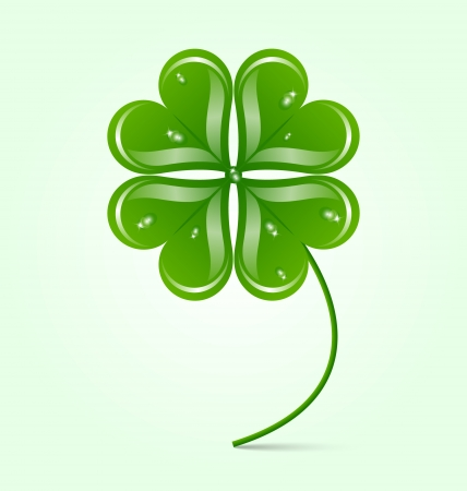 Glossy green clover icon isolated on background Stock Vector - 18384005