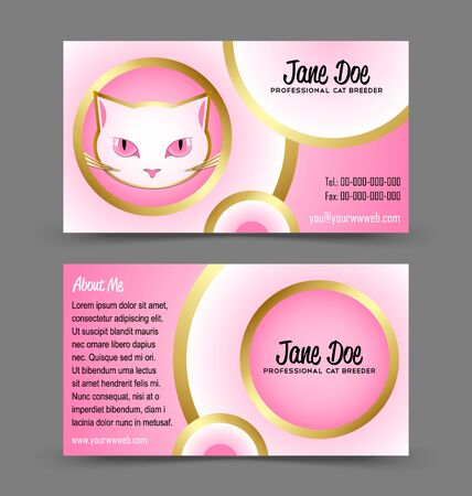Front and back side of cat head theme business card isolated on grey background Stock Vector - 18419549