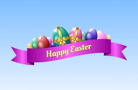 Happy Easter Greeting Card Template With Eggs And Ribbon Royalty