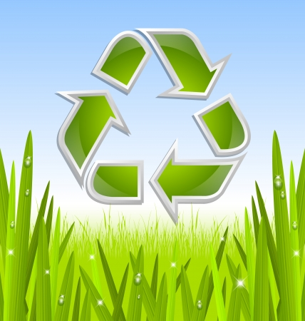 recycle sign: Green and glossy recycled symbol icon with grass and morning dew