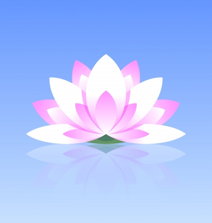 Spiritual lotus flower icon on calm water surface with reflection