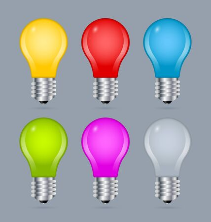bluish: Set of simple and colorful light bulb icons isolated on bluish grey background Illustration