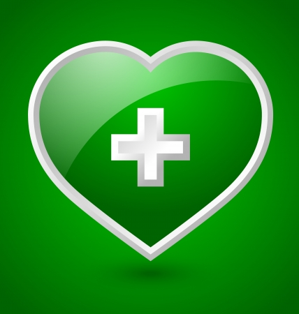 transfuse: Green medical heart icon with white cross isolated on green background
