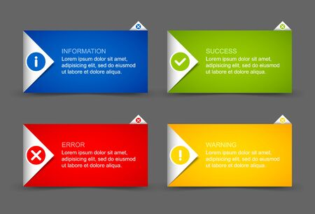 notification: Origami style notification window or paper background document template Illustration