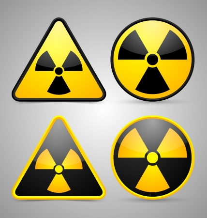 Nuclear symbols isolated on grey background Stock Vector - 18419555