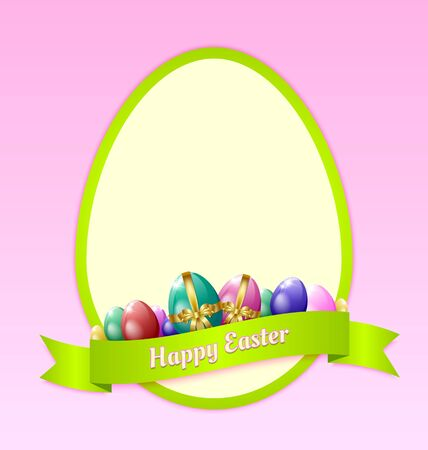 golden religious symbols: Happy Easter greeting card template with eggs and ribbon Illustration