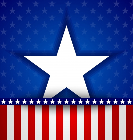 American star on blue background with little stars and stripes Çizim