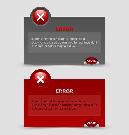 Two styles of notification error windows isolated on pale grey background Vector