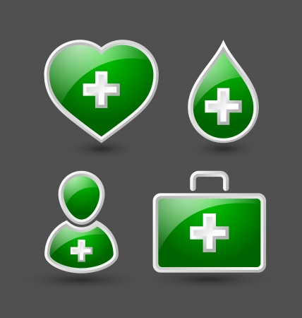 Set of medical icons isolated on grey background Vector