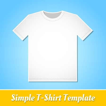 Simple white T-shirt template isolated on light blue background