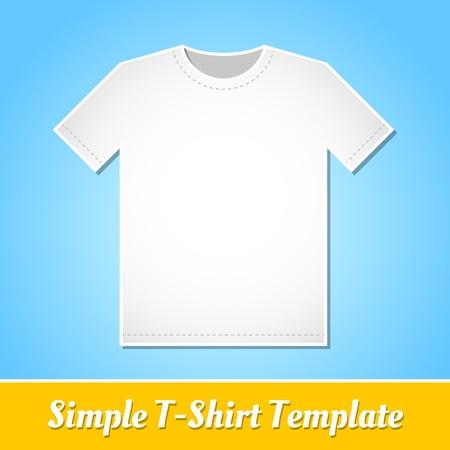 Eenvoudige witte T-shirt sjabloon geïsoleerd op lichte blauwe achtergrond Stock Illustratie