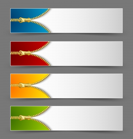 Colorful zipper banners isolated on grey background Vector