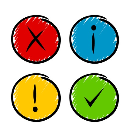no signal: Simple hand drawn notification icons suitable for custom web design and computer purposes