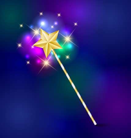 Golden fairy tale magic wand with glittering effect Vector