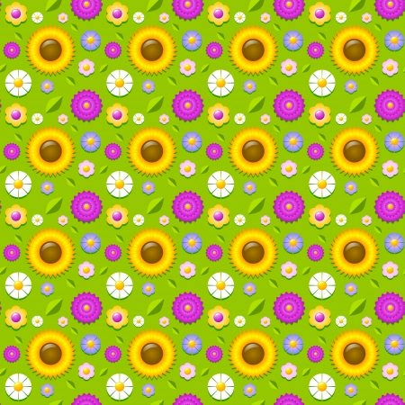 Floral seamless pattern made of various types of flowers Vector