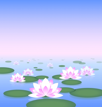Idyllic lotus pond with copy space for your custom text Vector
