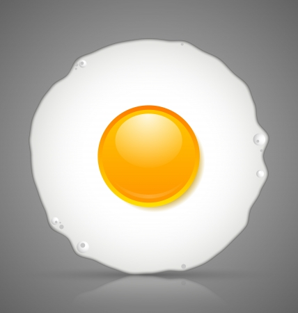 sunny side up: Sunny side up fried egg icon isolated on grey background Illustration