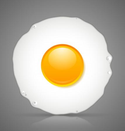 nutrition icon: Sunny side up fried egg icon isolated on grey background Illustration