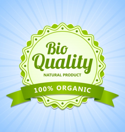 Green Bio Quality natural organic product label Vector