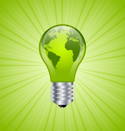 green light bulb: Ecology and saving energy icon with light bulb and planet Earth Illustration