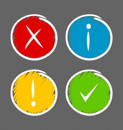 coincidir: Iconos de notificación dibujados a mano simples adecuadas para el diseño web personalizado y con fines informáticos