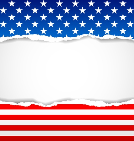 American document background made of torn papers Vector