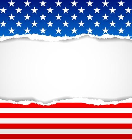 bandera americana: Fondo del documento americana hecha de papeles rotos Vectores