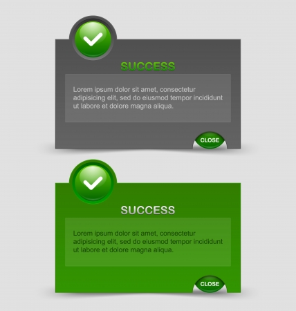 energizing: Two styles of success notification windows isolated on pale grey background Illustration