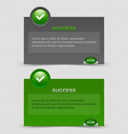 알림: Two styles of success notification windows isolated on pale grey background 일러스트