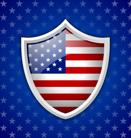 American shield badge on blue starry background Vector