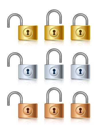 iron defense: Three stages of golden, silver and bronze padlock icons Illustration