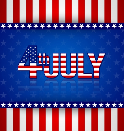 4th of july: American starry background with stripes and 4th july title Illustration