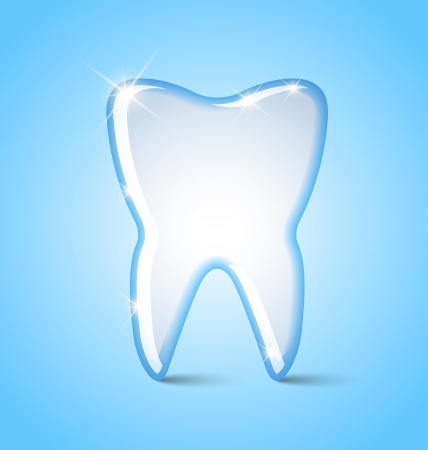 cavities: Simple tooth icon isolated on blue background