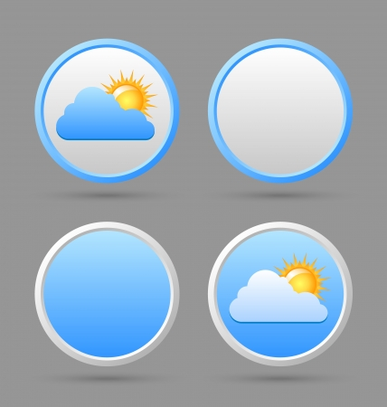 Weather icons with blank icon templates suitable for custom web design Vector