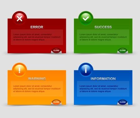 no pase: Ventanas de notificación adecuados para el diseño web personalizado y con fines informáticos Vectores